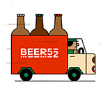Cartoon Beer52 truck delivering beer.